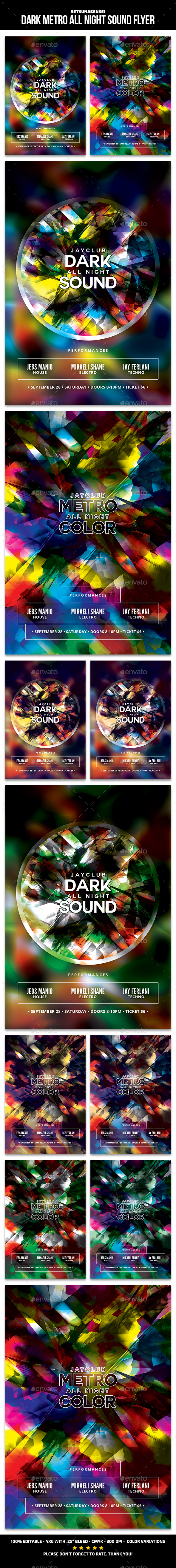 Dark Metro All Night Sound Flyer - Clubs & Parties Events