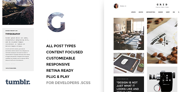 Download Grid - Responsive Portfolio - Tumblr Theme nulled version