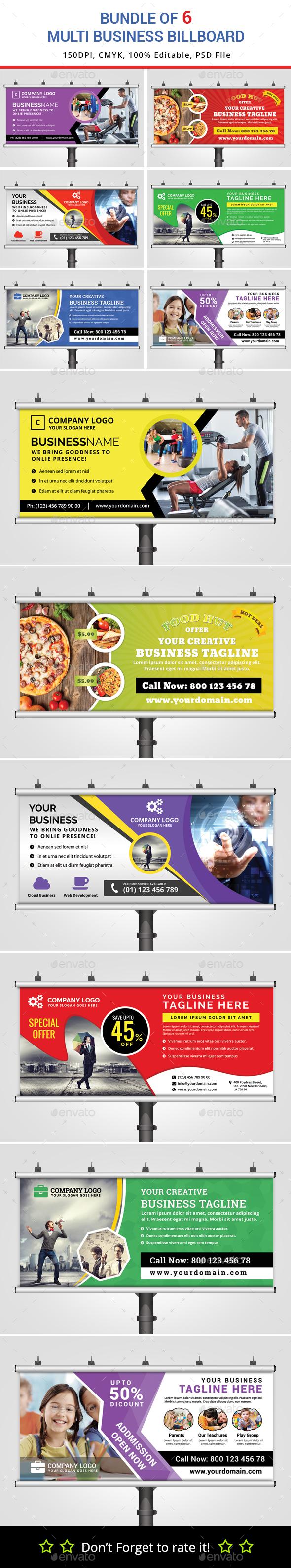 Bundle of 6 Multipurpose Billboard Banners - Signage Print Templates