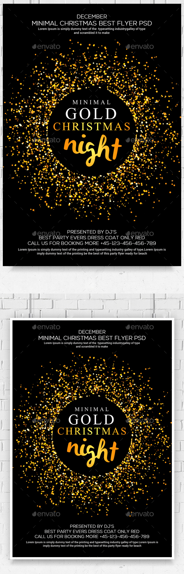 Christmas Glod Glitter Party Flyer - Clubs & Parties Events