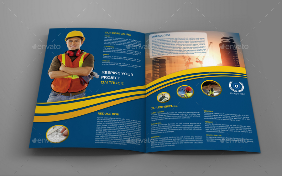Construction Company Brochure Bundle Vol By OWPictures - Construction brochure templates