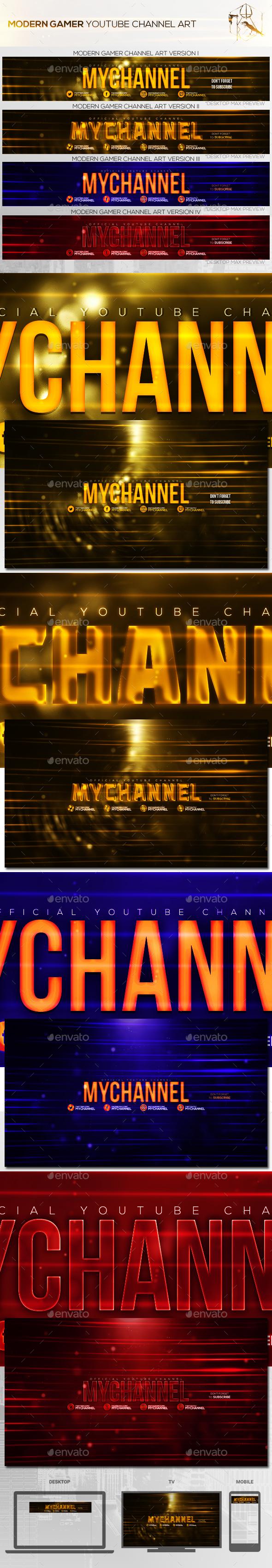 4 Modern Gamer Youtube Channel Art Banners - YouTube Social Media