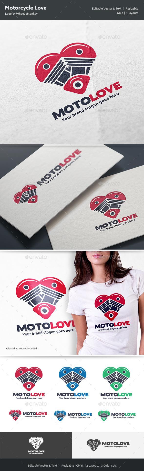 Motorcycle Love Logo - Vector Abstract
