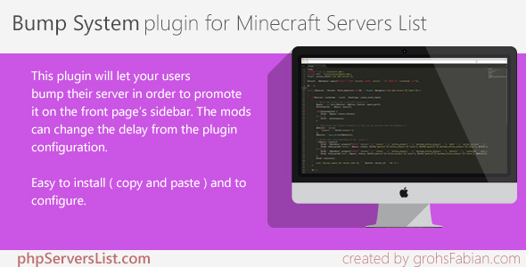 Bump System plugin for Minecraft Servers List - CodeCanyon Item for Sale