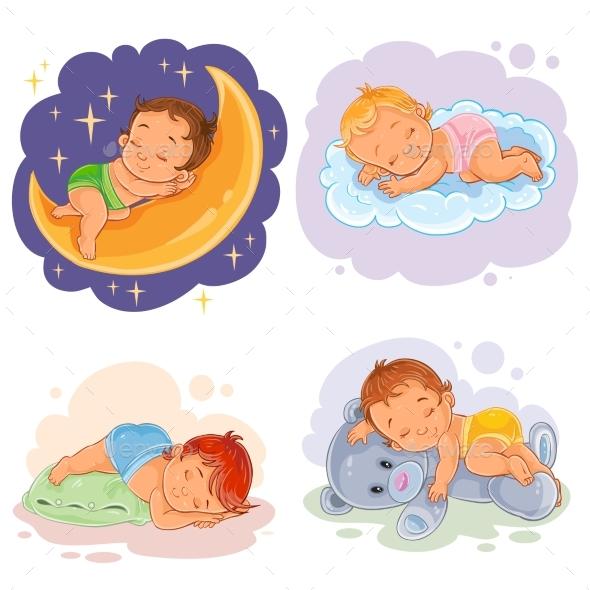 Set Illustration Babies Sleep - People Characters