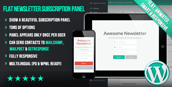 WP Flat Newsletter Subscription Panel - CodeCanyon Item for Sale