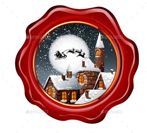 Christmas Illustration of Wax Seal with Snowy Town - Christmas Seasons/Holidays