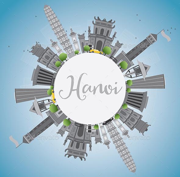 Hanoi Skyline with Gray Landmarks - Buildings Objects