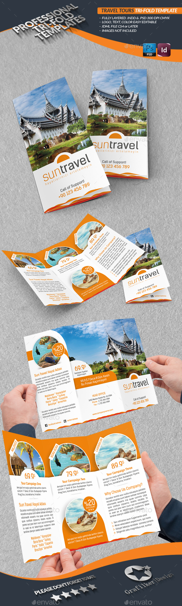Travel Tours Tri-Fold Templates - Brochures Print Templates