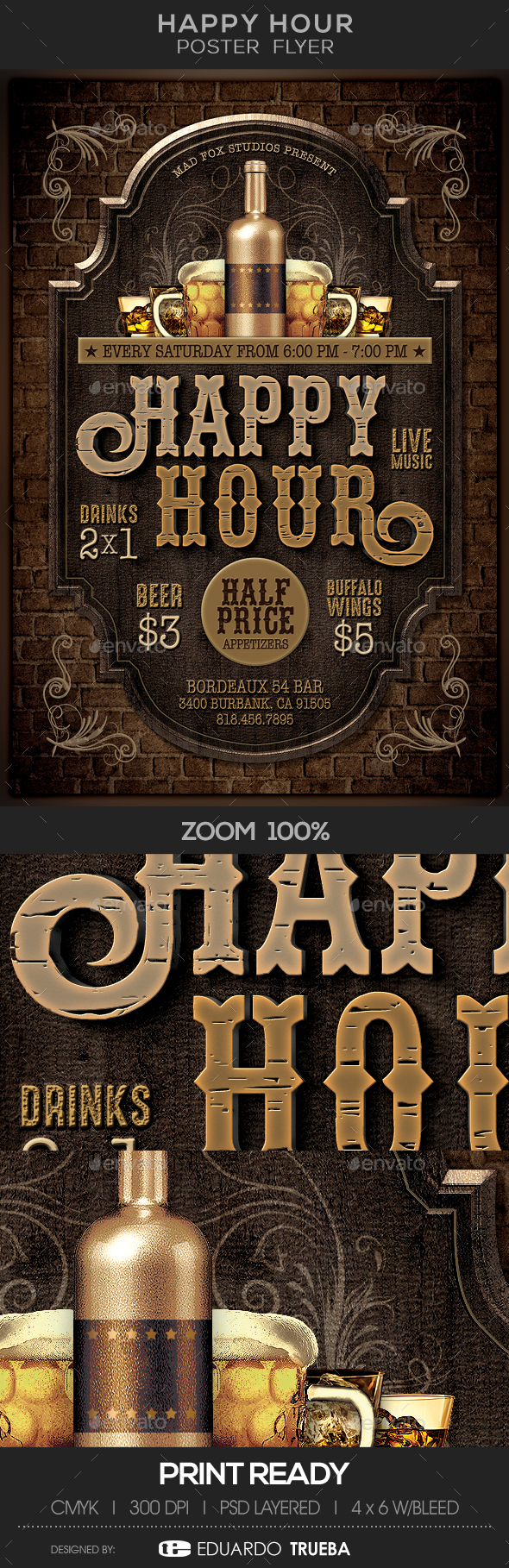 Happy Hour Poster Flyer - Flyers Print Templates