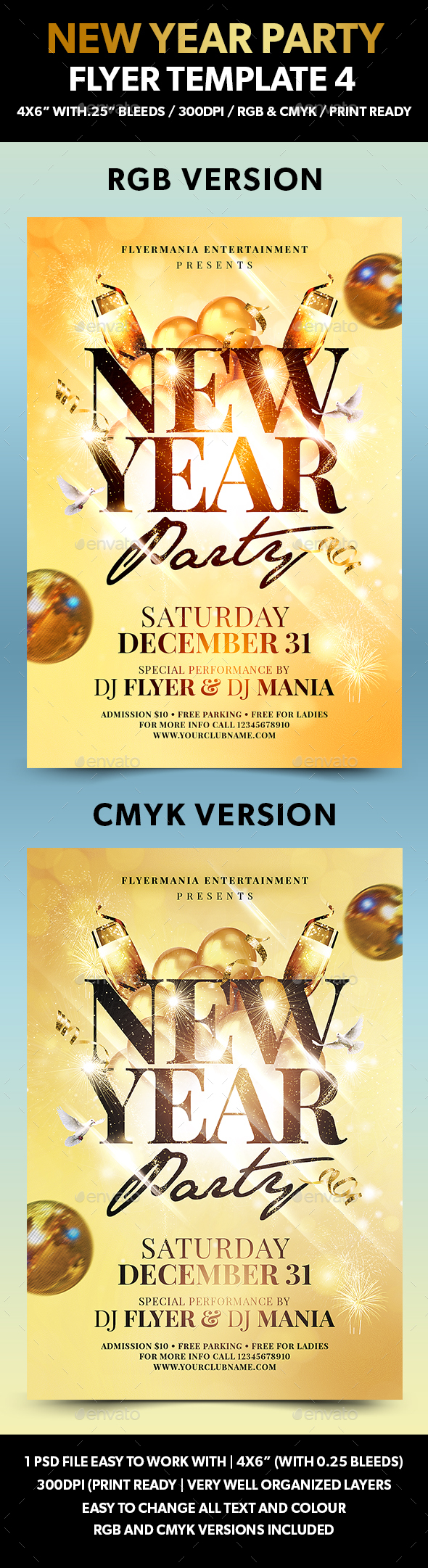 New Year Party Flyer Template 4 - Events Flyers
