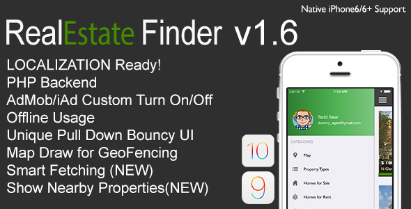RealEstate Finder Full iOS Application v1.6 - CodeCanyon Item for Sale
