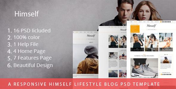 A Responsive Himself lifestyle Blog PSD Template - PSD Templates