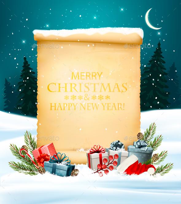 Holiday Christmas Background with Gift Boxes - Christmas Seasons/Holidays