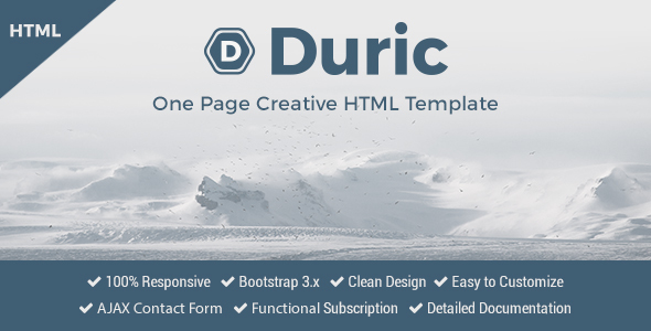 Duric – One Page Creative HTML Template