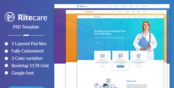 Ritecare - Healthcare PSD Template - Health & Beauty Retail