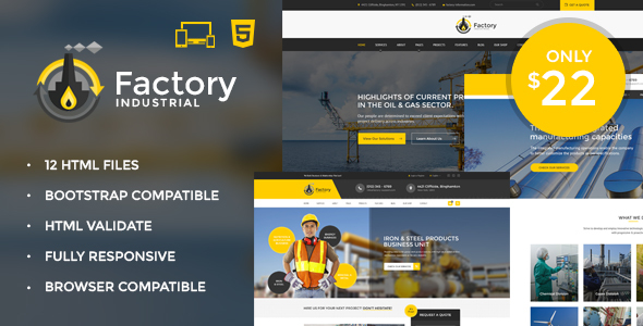 Factory Industrial - Engineering & Industrial HTML5 Template - Business Corporate