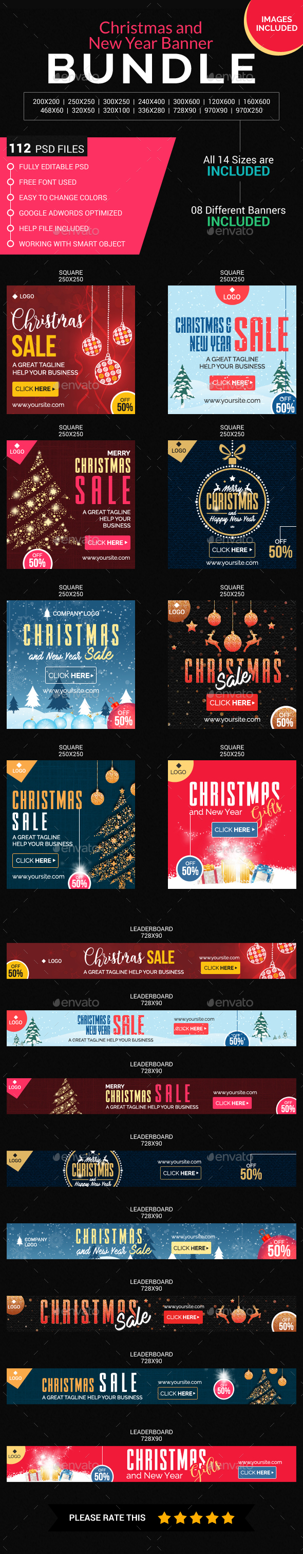 Christmas and New Year Banner Bundle - Banners & Ads Web Elements