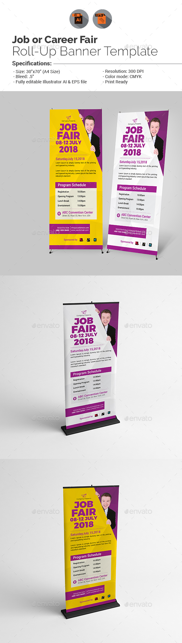 job fair roll up banner template v1 by aam360 graphicriver. Black Bedroom Furniture Sets. Home Design Ideas