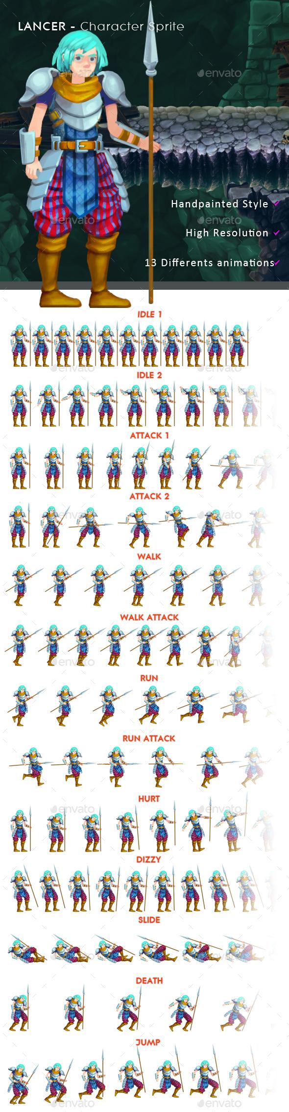 Lancer - Character Sprite - Sprites Game Assets