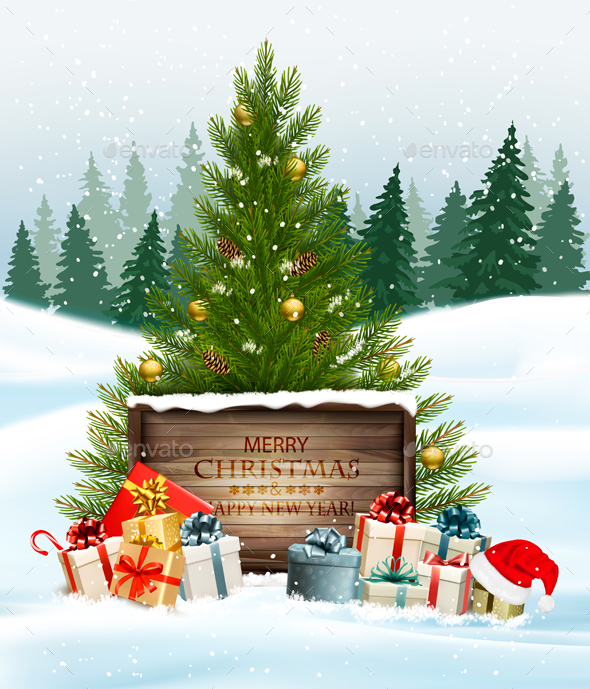 Holiday Christmas Background with Gift Boxes and Wooden Board - Christmas Seasons/Holidays