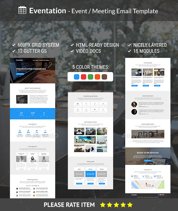 Eventation Event Meeting Email Template By Treustrasse - Email grid template