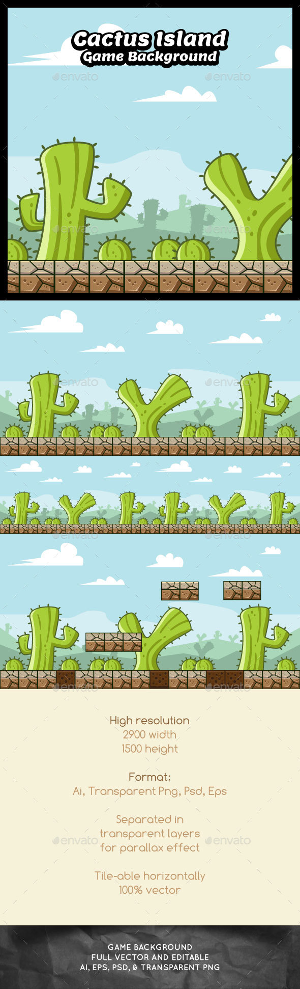 Cactus Island Game Background - Backgrounds Game Assets