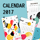 Calendar Template for the New Year 2017 with Roosters in the Memphis - GraphicRiver Item for Sale