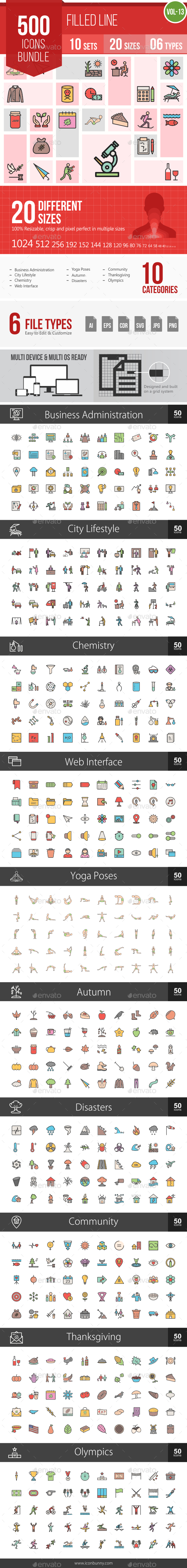 500 Vector Filled Line Icons Bundle (Vol-13) - Icons