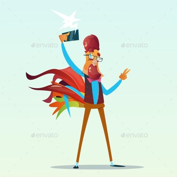 Cartoon Rooster Hipster Making Selfie Photo - Christmas Seasons/Holidays