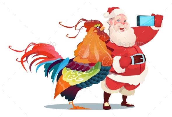 Cartoon Rooster And Santa Clause Making Selfie - Christmas Seasons/Holidays