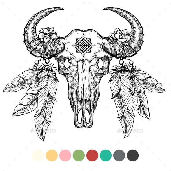 Animal Skull Coloring Design - Miscellaneous Conceptual
