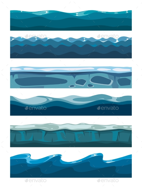 Set of Sea Backgrounds for Mobile Games Apps - Miscellaneous Vectors