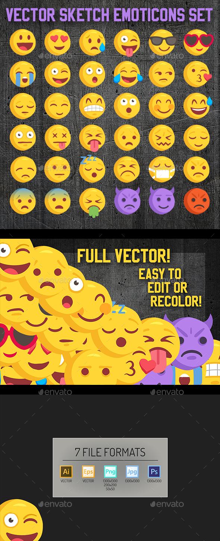 Big 36 Rough Sketch Vector Emoji - Web Icons