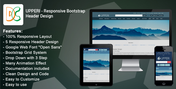 Upperi - Responsive Bootstrap Header Design - CodeCanyon Item for Sale
