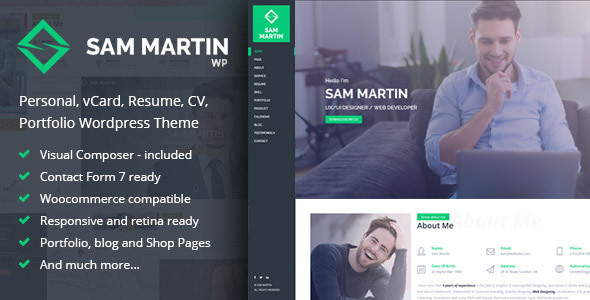 Sam Martin – Personal vCard Resume WordPress Theme