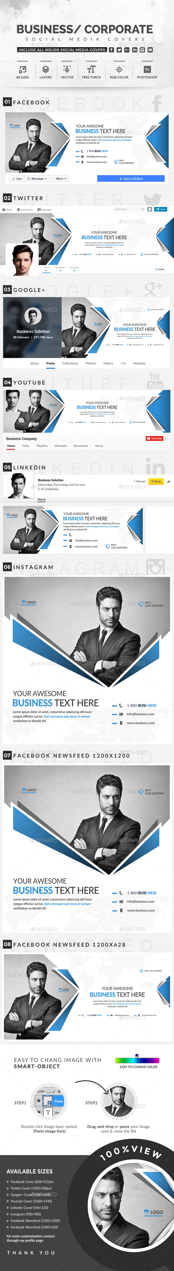 Corporate Social Media Covers - Social Media Web Elements