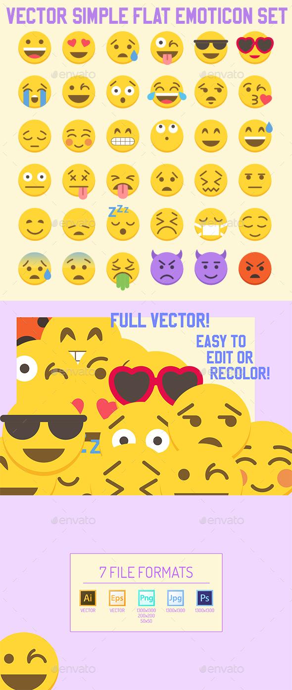 Big 36 Simple Flat Vector Emoji set - Web Icons