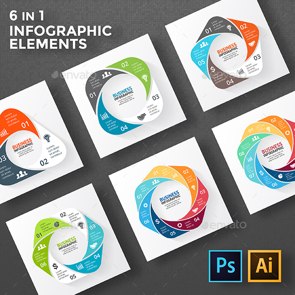 Circle Geometric Figures For Infographic. PSD, EPS, AI. - Infographics