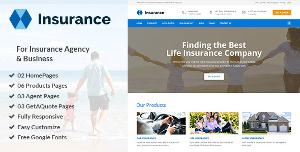 Insurance – Insurance Agency & Business PSD Template