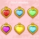 Golden Old Amulets Hearts with Gems - GraphicRiver Item for Sale