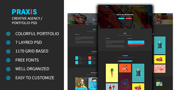 Praxis – Creative Agency and Portfolio PSD Template