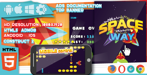 Space Way - HTML5 Game.Construct2 (.capx) + Mobile + Top Banner - CodeCanyon Item for Sale