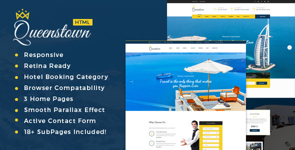 QueensTown : Resort and Hotel HTML Template