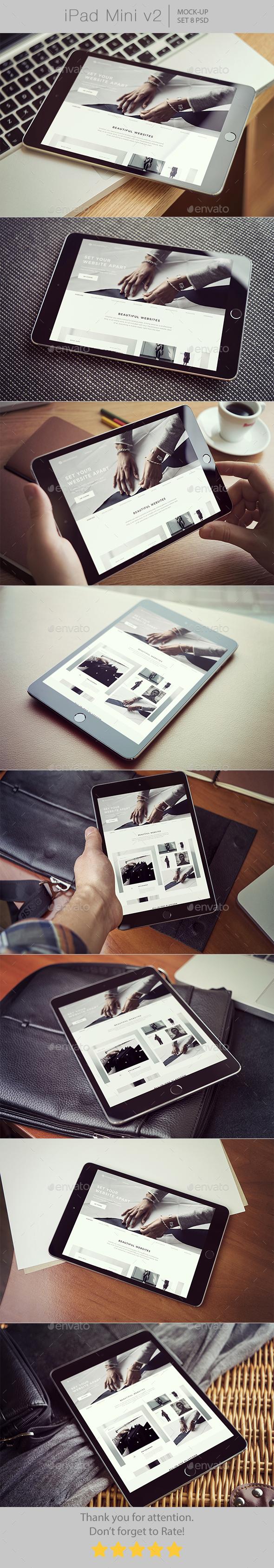 iPad Mini Mockups v2 - Displays Product Mock-Ups
