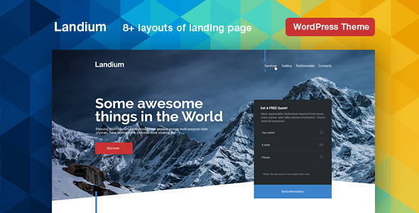 Landium – App & Landing Page WordPress Theme Pack