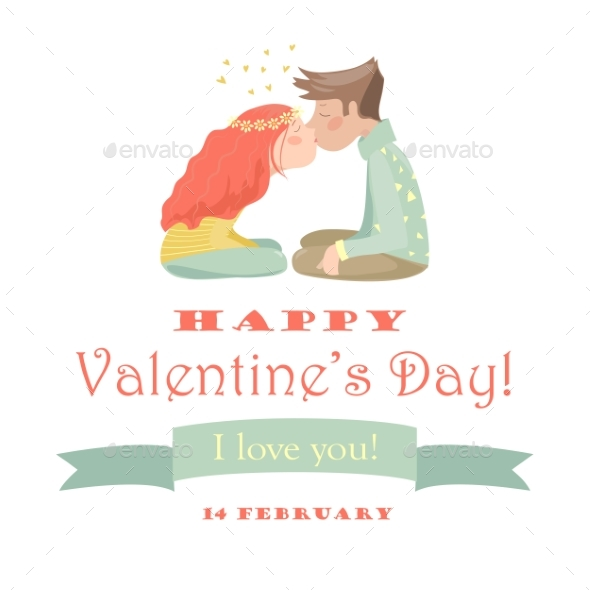 Card with Kissing Couple - Valentines Seasons/Holidays