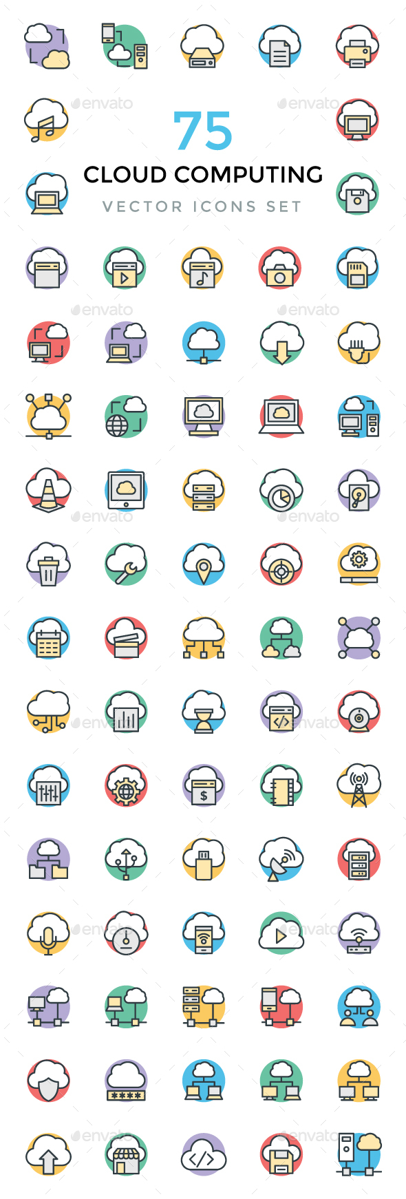 75 Cloud Computing Vector Icons - Icons
