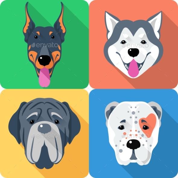 Set Dog Head Icon Flat Design - Animals Characters