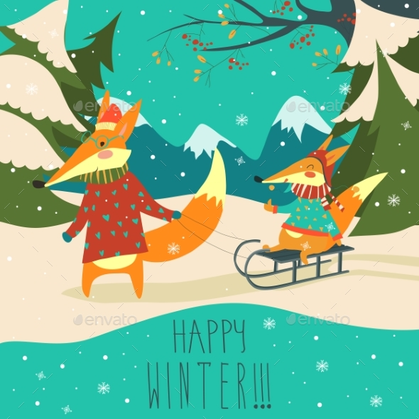 Foxes Sledding - Animals Characters